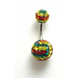 Piercing nombril swarovski double boules rasta