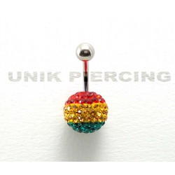 Piercing nombril swarovski boule rasta 13 mm