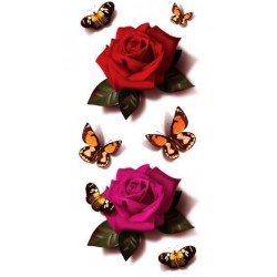 Tattoo 3D Rose et Papillon