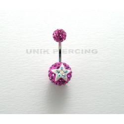 Piercing nombril swarovski étoile fushia