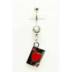 Piercing Nombril  poker  carte de coeur