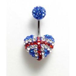 Piercing nombril swarovski coeur anglais