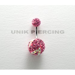 Piercing nombril swarovski zèbre rose