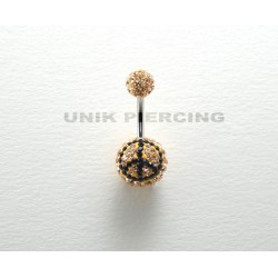 Piercing nombril swarovski peace and love champagne
