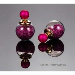 Boucles D'oreilles Boule Double perles Fushia