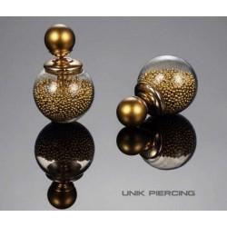 Boucles D'oreilles Boule Double perles Doré