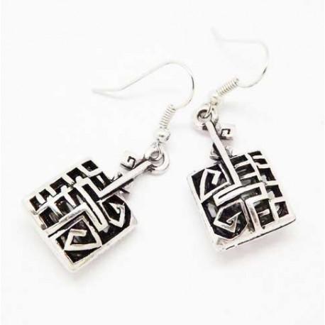Boucles d'oreilles tibétaines carré