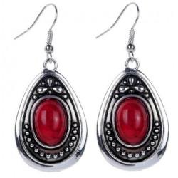 Boucles d'oreilles tibétaines  rouge