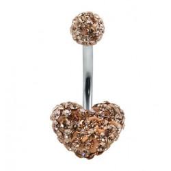 Piercing nombril swarovski coeur champagne double boule