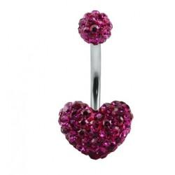 Piercing nombril swarovski coeur violet foncé double boule