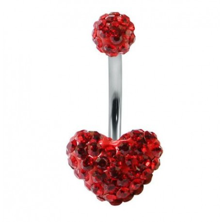 Piercing nombril swarovski coeur rouge double boule