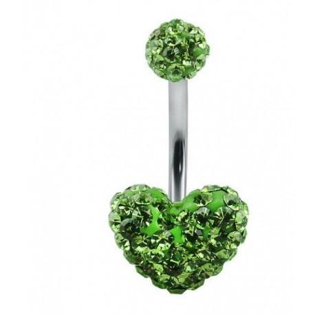 Piercing nombril swarovski coeur vert claire double boule