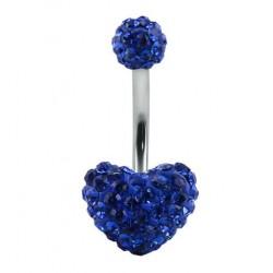 Piercing nombril swarovski coeur  bleu foncé double boule