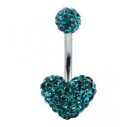 Piercing nombril swarovski coeur  bleu claire double boule