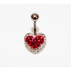 Piercing nombril swarovski coeur rose claire