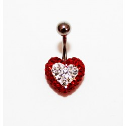 Piercing nombril swarovski coeur  rouge et blanc