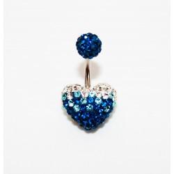 Piercing nombril swarovski coeur dégradé bleu