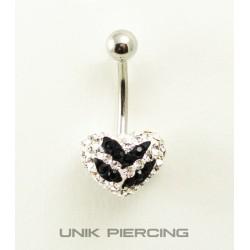 Piercing nombril coeur swarovski zèbre