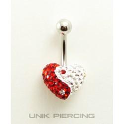 Piercing nombril swarovski/acier coeur rouge