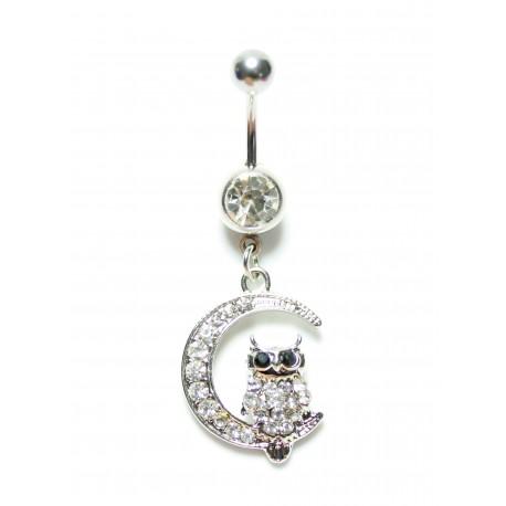 Piercing nombril pendant chouette cristal