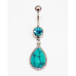 Piercing nombril pendant turquoise