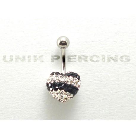Piercing nombril swarovski coeur noir et blanc