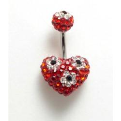 Piercing nombril swarovski coeur fleur rouge