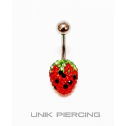 Piercing nombril swarovski fraise