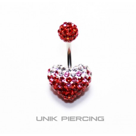 Piercing nombril swarovski coeur dégradé rouge