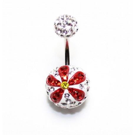 Piercing nombril swarovski boule blanc fleur rouge
