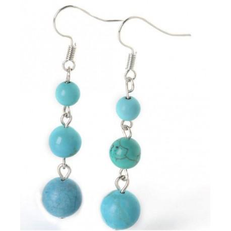 Boucles D'oreilles pierres naturelles turquoise