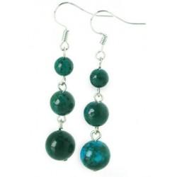 Boucles D'oreilles pierres naturelles turquoise verte