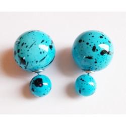 Boucles D'oreilles Boule tache bleu ciel
