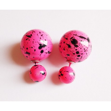 Boucles D'oreilles Boule tache rose