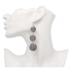Boucles d'oreilles pompoms rayures noire et blanches