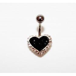 Piercing nombril swarovski coeur blanc et noir