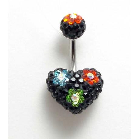 Piercing nombril swarovski coeur fleur noir multicouleurs