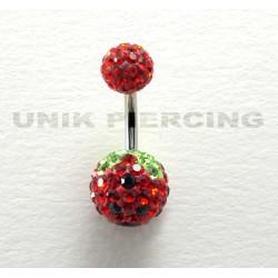 Piercing nombril swarovski fraise noir