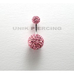 Piercing nombril swarovski double boule 10 mm