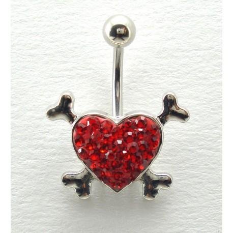 Piercing nombril swarovski/acier coeur os rouge