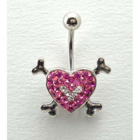 Piercing nombril swarovski/acier coeur os rose
