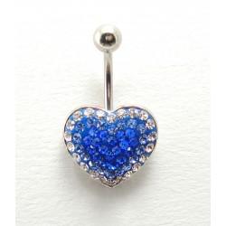 Piercing nombril swarovski/acier coeur bleu