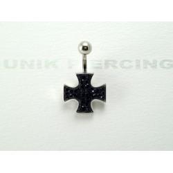 Piercing nombril swarovski croix