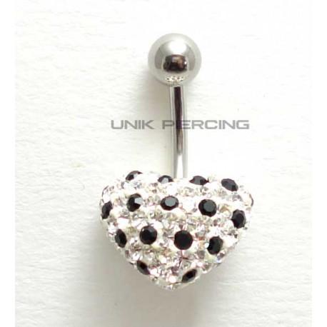 Piercing nombril swarovski coeur pois noir