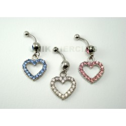 Piercing nombril coeur strass
