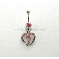 Piercing nombril coeur strass rose