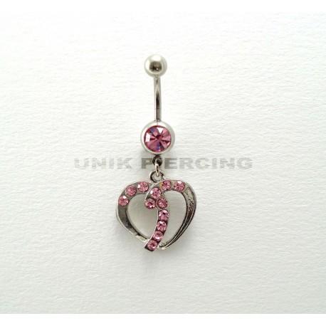Piercing nombril coeur strass rose