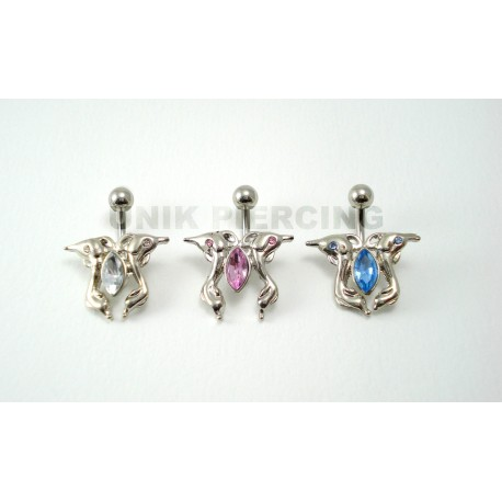 Piercing nombril dauphin strass