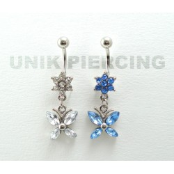 Piercing nombril papillon strass