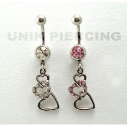 Piercing nombril triple coeur strass
